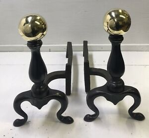 Antique-19th-Cent-Brass-Ball-Andirons-Hand-Forged-Billets-SIGNED-Victorian-Vtg