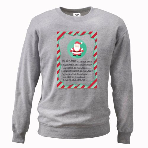 FUNNY CHRISTMAS LIST PROSECCO WOMENS SWEATER JUMPER GIFT PRESENT XMAS JOKE