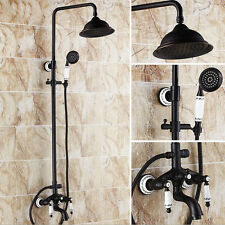 Oil Rubbed Bronze Brass Shower Faucet Set Tub Mixer Tap Hand Sprayer Ceramic Tap