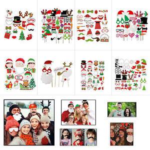 Joyeux-Noel-Drole-Visage-Photo-Booth-Selfie-accessoires-sur-un-baton-Parti-photographie