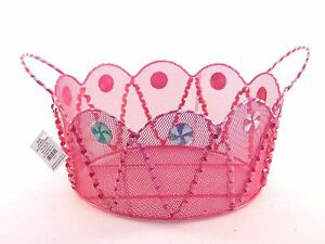 9-5-Inch-Pink-amp-White-Metal-Mesh-Christmas-Candy-Basket-Container-Decoration