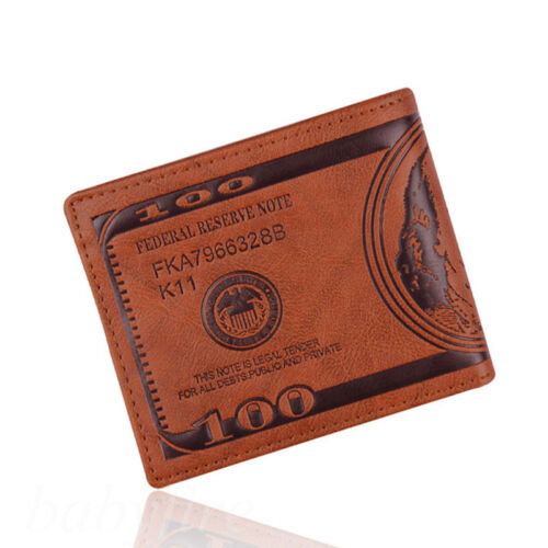 Fashion Men Dollar Bill Leather Bifold Card Holder Wallet Handbag Coffee Purse
