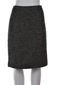 J-Crew-Womens-Skirt-Size-8-Black-Gray-Gold-Tweed-Pencil-Knee-Length-Wool
