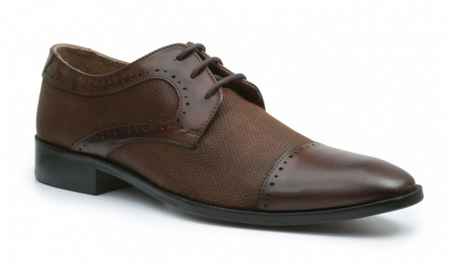Giorgio Brutini Daily Brown Pelle And Canvas Construction Cap Toe Dress Shoes
