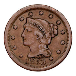 1853 Braided Hair Large Cent 1C Penny (Very Fine, VF Condition)