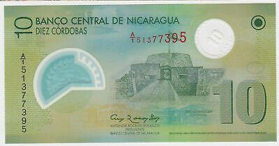 Nicaragua 2009 P201 Polymer 10 Cordobas Banknote Money Unc