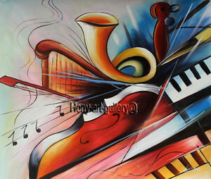 Details About Modern Art Music Abstract Oil Painting On Canvas Living Room Decor Handmade 2185