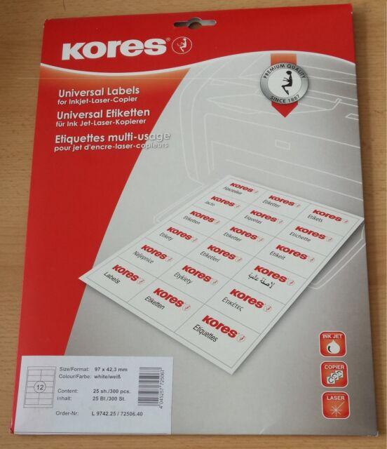 Kores Universal Etiketten 97x42,3 mm weiß,  Inkjet Laser u. Kopierer L9742.25