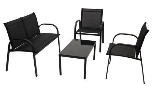 WAHL Loungeset Sitzgruppe Gartenmöbel Garnitur ARONA Metall Gewebe 4-teilig 2