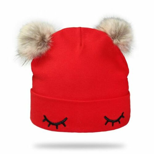 Cotton Embroidery Hat For Baby Winter Kids Caps Bonnet With Pompom Design Beanie