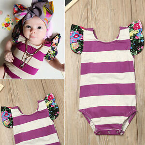 2e4a2206727c Image is loading Summer-Newborn-Baby-Girls-Stripe-Floral-Outfit-Romper-