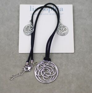 NWT-Lia-sophia-jewelry-silver-earrings-black-leather-chain-necklace-pendant
