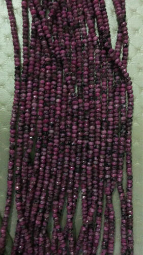 "15/"" 2x4mm Rose ruby Zoisite Rondelle Hand Cut Faceted Loose Beads Small AAA"