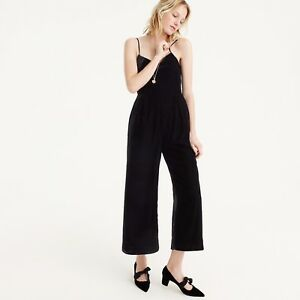 4484a04718c NWT J CREW  138 Cropped velvet jumpsuit Size 6 In Black H2658