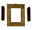 miniature 11 - Antique Embossed Brass Plate Vanity Dressing Wall Mirror Hanging Brushes Vintage