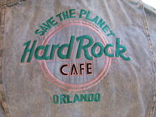 HARD ROCK CAFE SIZE L EMBROIDERED DENIM JACKET ORLANDO FLORIDA ROCK N ROLL