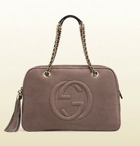 31044cfccd7d Gucci Women's Soho Nubuck Leather Chain Shoulder Bag, Grey Field ...