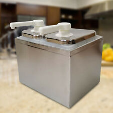 2 Bucket Sauce Pump Dispenser Stainless Condiment Pump Station Withremovable Tanks