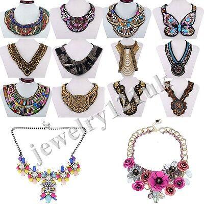 Fashion Women Jewelry Pendant Crystal Choker Statement Necklace Chunky Collar