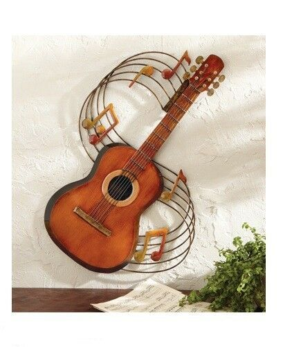 Acoustic Guitar Music Notes Musician Theme Metal Wall Art Hanging Home Decor