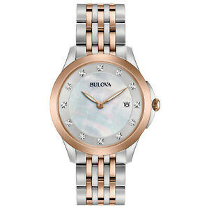 Bulova-Women-039-s-Quartz-Diamond-Accent-Markers-Rose-Gold-Tone-36mm-Watch-98P162
