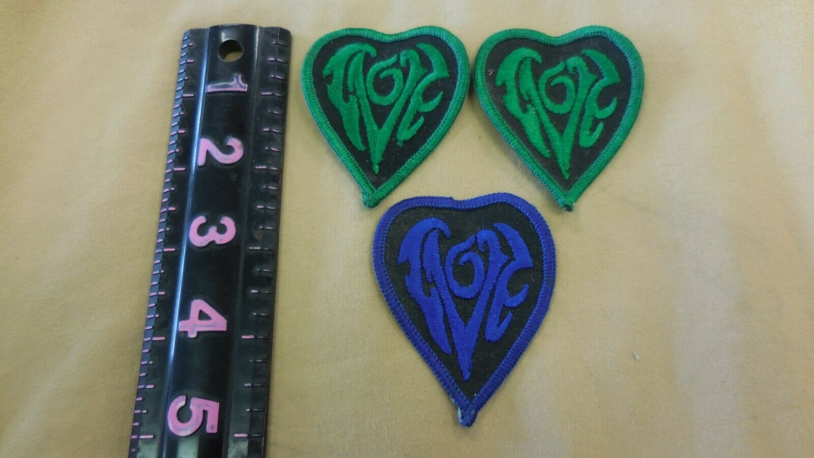 3 VINTAGE 1970's LOVE heart shaped patches