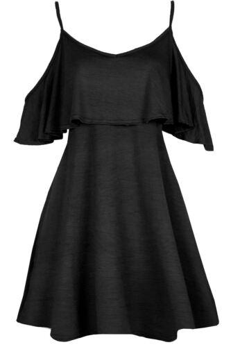 Womens Ladies Flared Frill Sleeve V Neck Cross Strappy Swing Mini Skater Dress