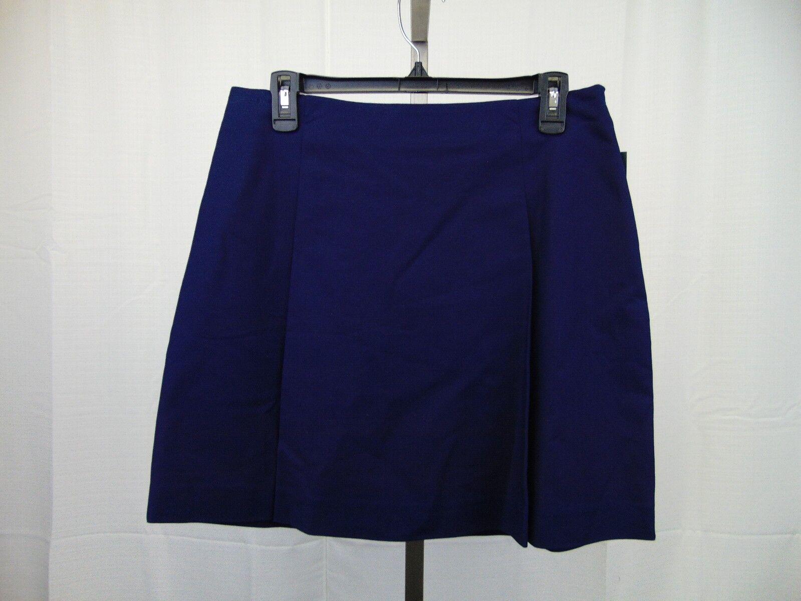 LAUREN Ralph Lauren Petite Pleated Side-Zip A-Line Skirt 10P Navy bluee