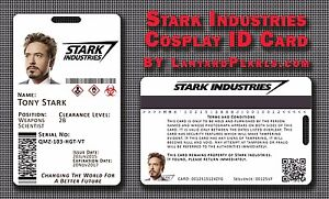 Stark industries iron man cosplay id badge card fully customisable image is loading stark industries iron man cosplay id badge card colourmoves