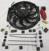 12 S-blade Electric Radiator Cooling Fan + Thermostat Relay Mount Kit High Cfm