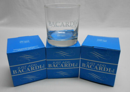 1996 3.5in Vintage Bacardi Rock Glasses With Boxes. 4