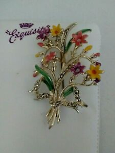 Vintage-Signed-Exquisite-Enamel-Flower-Posy-Bouquet-Collectable-Brooch-Pin