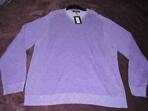 NWT MENS ROUNDTREE & YORKE V NECK SWEATER 100% COTTON PURPLE ...