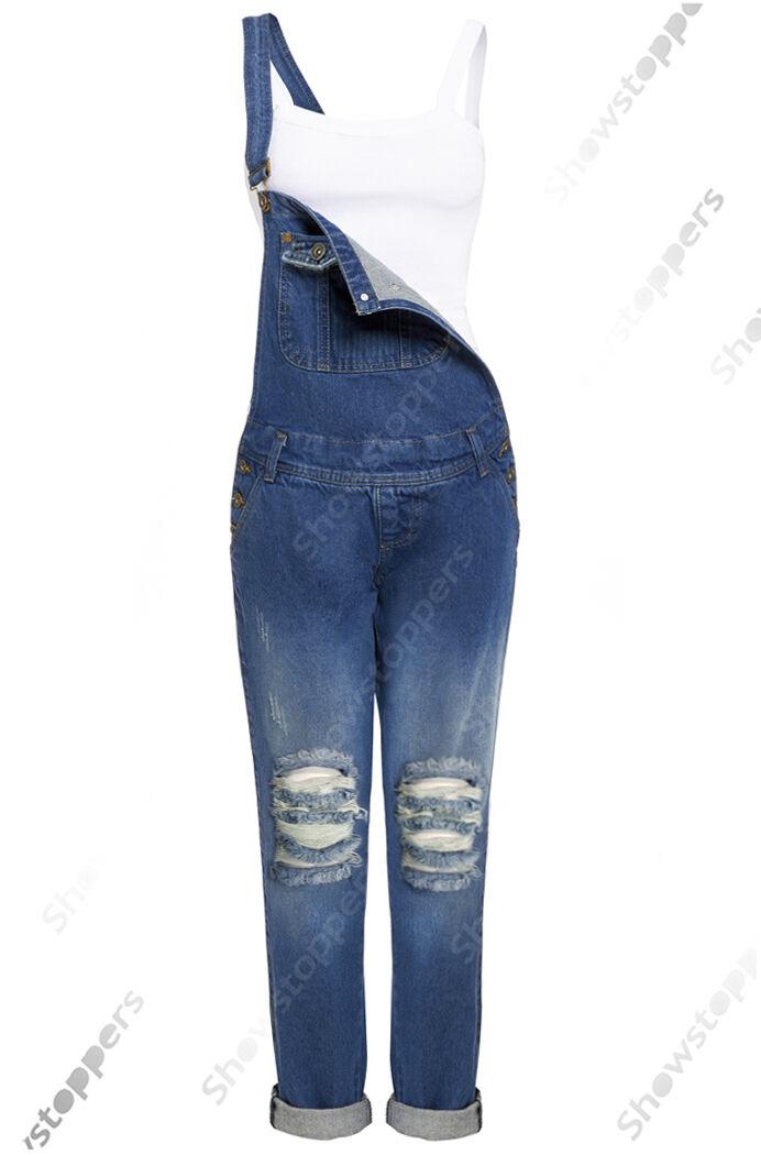 NEW DUNGAREE JEAN Rip DENIM Womens Size 8 10 12 14 16 Ladies DUNGAREES Jumpsuit
