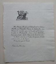 DAVOIS FAIRE PART ORIGINAL DECES, 9 mai 1817