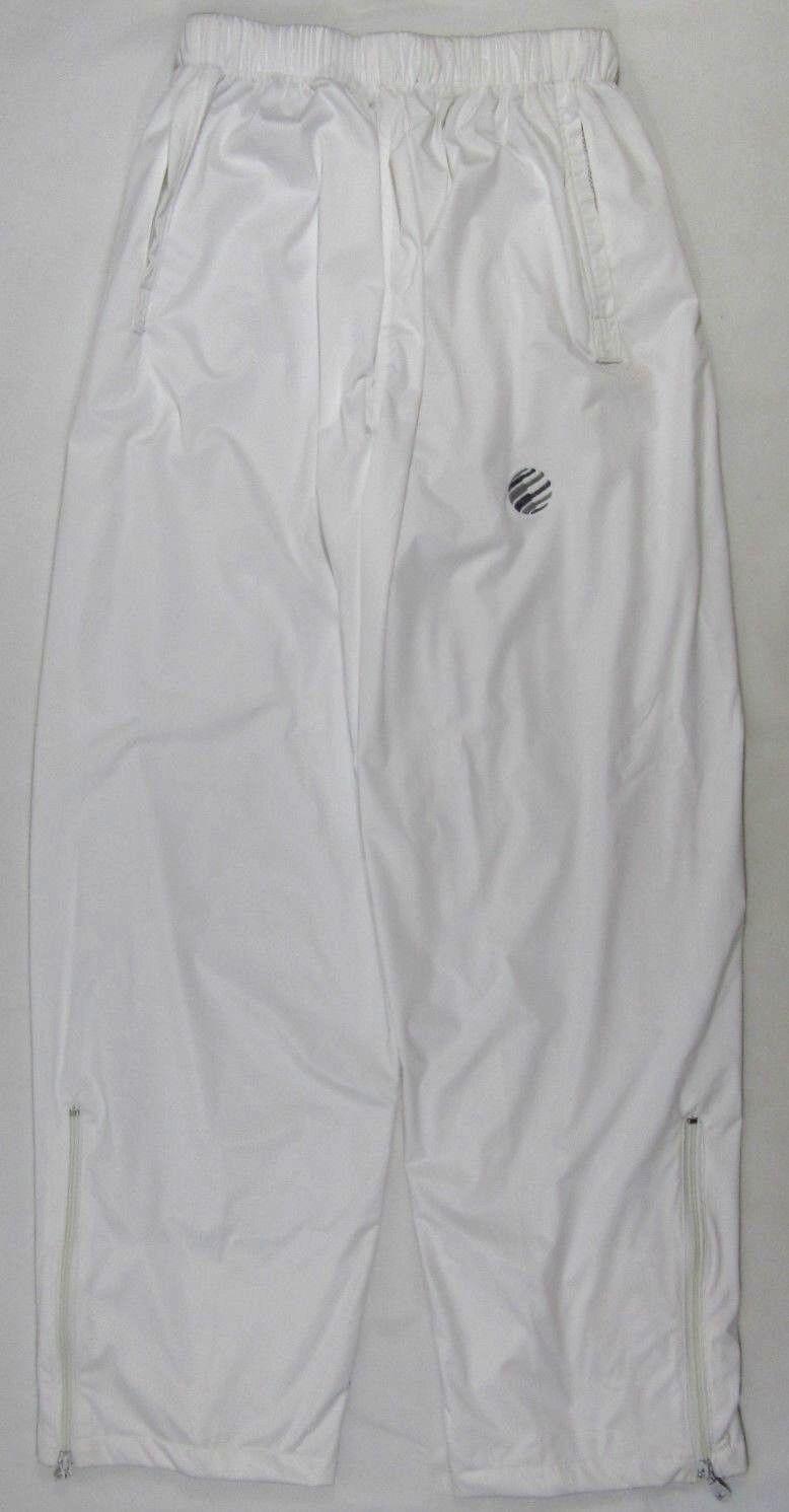 Adults Mens Bowls White Waterproof Over Trousers Elasticated Waist Logo Uniform