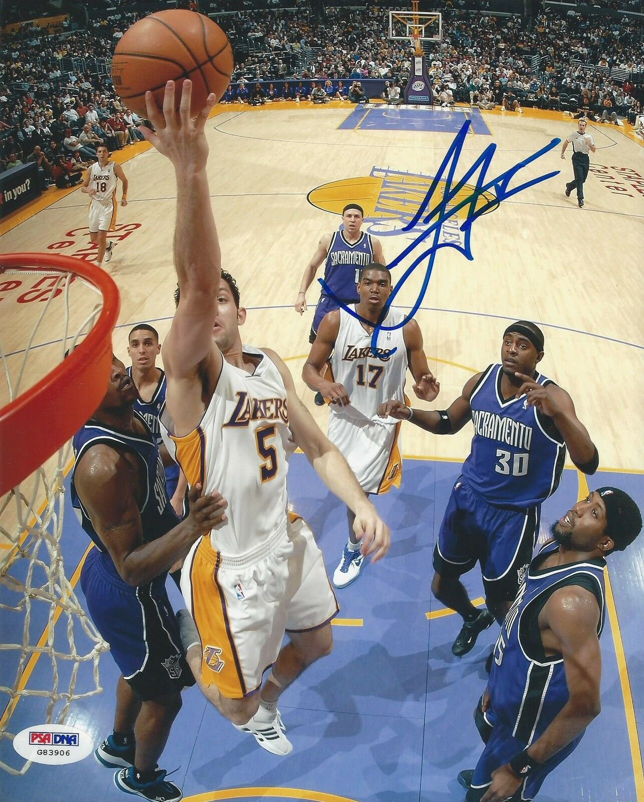 Jordan Farmar Los Angeles Lakers signed 8x10 photo PSA/DNA #G83906
