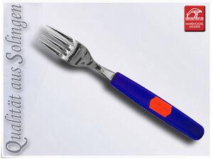 Edelstahl-Gabel-Tischgabel-Solingen-Kunststoffgriff-Blau
