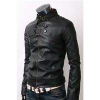 Mens Slim Fit Button Rider Stylish Real Sheep Skin Leather Jacket Black BNWT