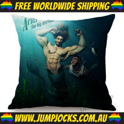Muscles *FREE SHIPPING WORLDWIDE* Gay Little Mermaid Cushion Cover Pillow