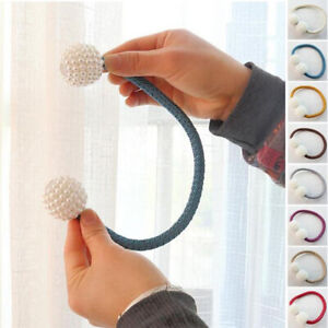 1-Pearl-Magnetic-Ball-Holder-Clip-Hanging-Buckle-Tie-Back-Curtain-Strap-Home-Kit