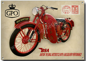 BSA BANTAM D1 GPO 125CC MOTORCYCLE METAL SIGN.GPO BANTAM,POST OFFICE.RED ROOSTER