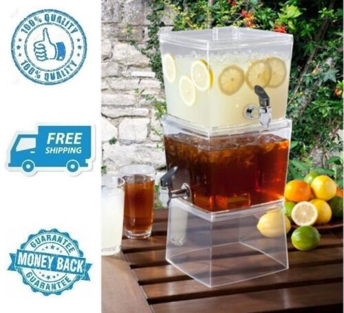 New Stackable Beverage Dispenser Drink Cold Ice Tea Clear Party Jug Container