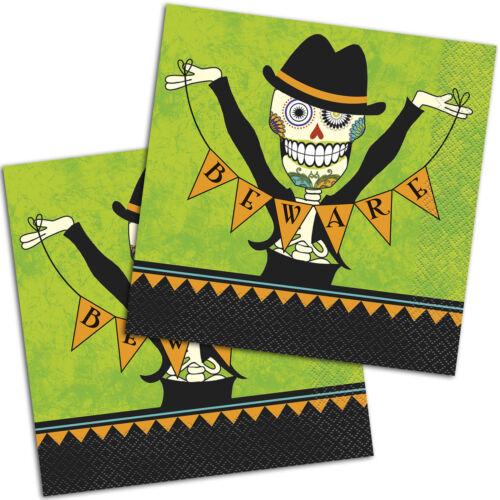 16 Haunted Halloween Party Day of the Dead Parti papier 33 cm Déjeuner Serviettes