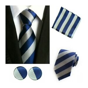 Tie Pocket Square Cufflinks Blue Flower Set Individual 100/% Silk Wedding