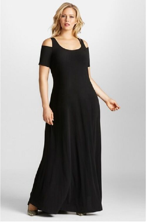 Mynt 1792 Cold Shoulder Maxi Dress (Plus Size) (size 2X) - -