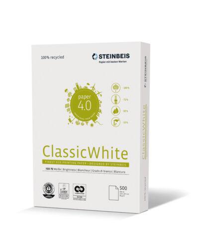 Steinbeis Classic White 80g//m² DIN-A4 500 Blatt 70 Weiße 100 /% Altpapier