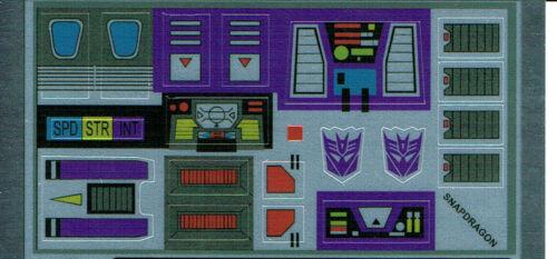 Transformers GENERATION 1 G1 Decepticon Snapdragon REPRO Etichette//Adesivi