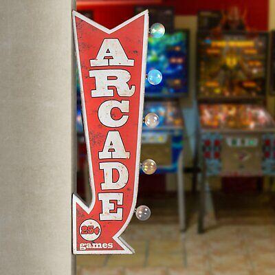 Game Room Man Cave Pinball Bar Decor Arcade Games Arrow Double Sided LED Sign
