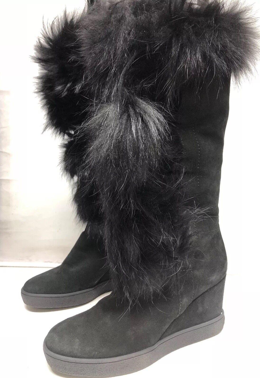 Aquatalia Black Colette Colette Colette Suede Fur wedge boots 8 8.5 0e454a